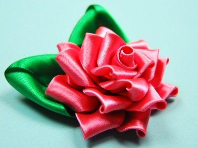 Ажурная РОЗА Канзаши. Мастер-класс . Satin Ribbon Rose Tutorial Kanzashi. ✿ NataliDoma