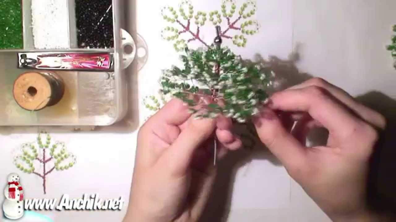 Tutorial: Christmas Tree of beads. Урок: Ёлочка из бисера