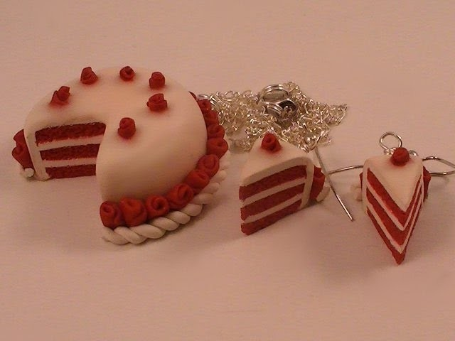 Polymer Clay Red Velvet Cake - Earrings and Necklace