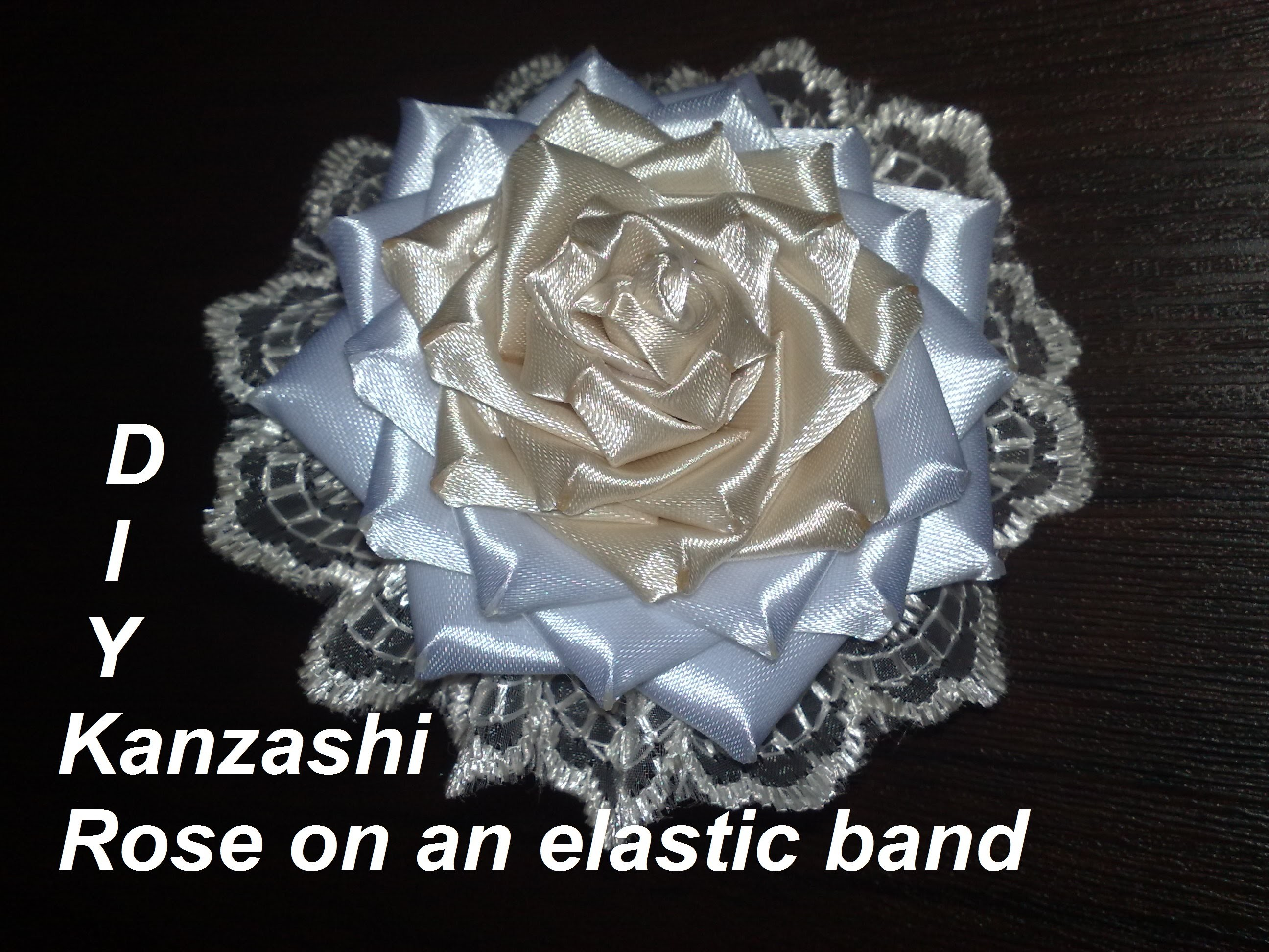 DIY Kanzashi Rose on an elastic band - Роза на резинке. Мастер-класс.