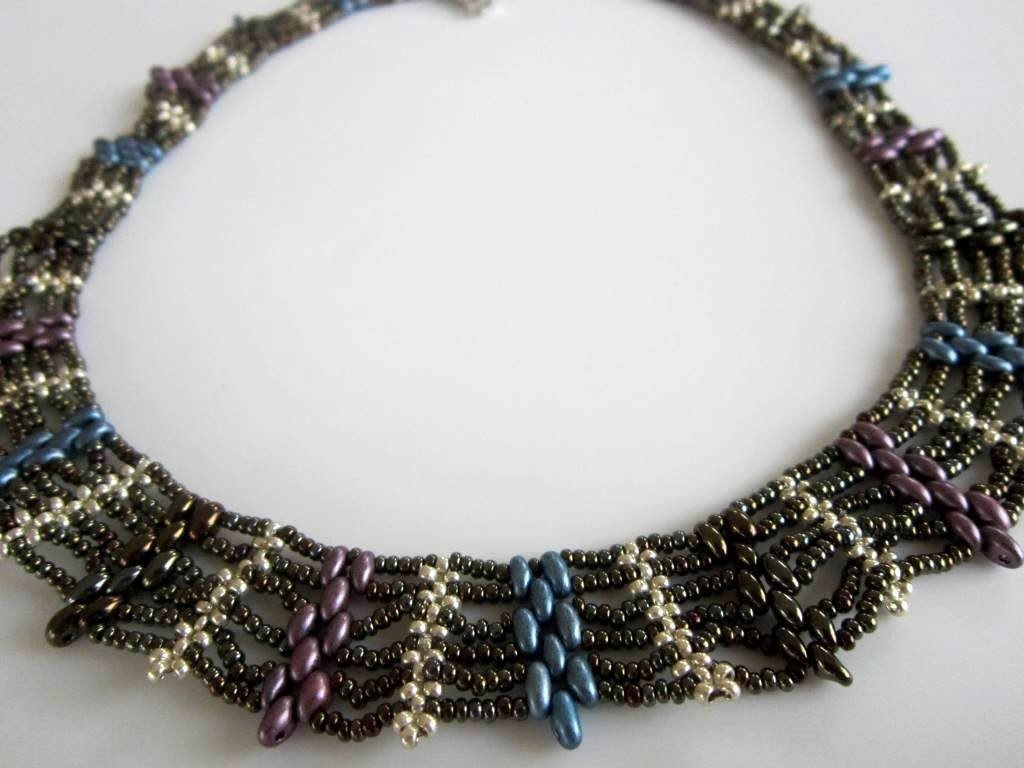 Superduo Beaded Necklace. Колье из бисера