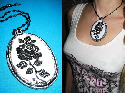 "DIY Кулон ""Роза"".Папье-маше.Мастер-класс. \ Papier-mache pendant \ Paper crafts \ Paper jewelry"