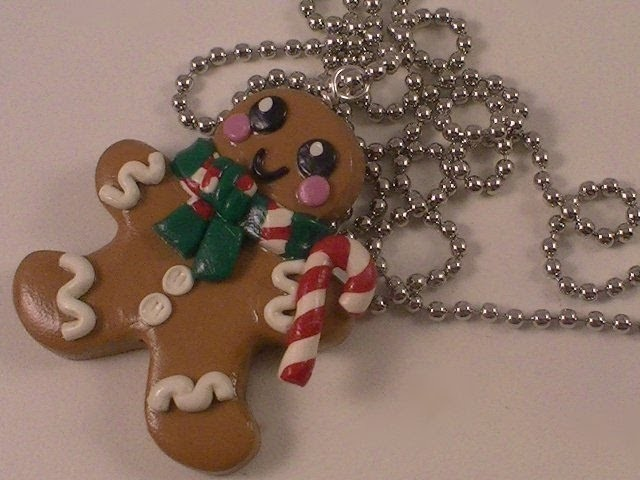 Polymer Clay Gingerbread Man Necklace