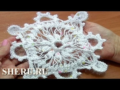Hairpin Snowflake Lace Урок 7 часть 2 из 2 Снежинка вязаная на вилке