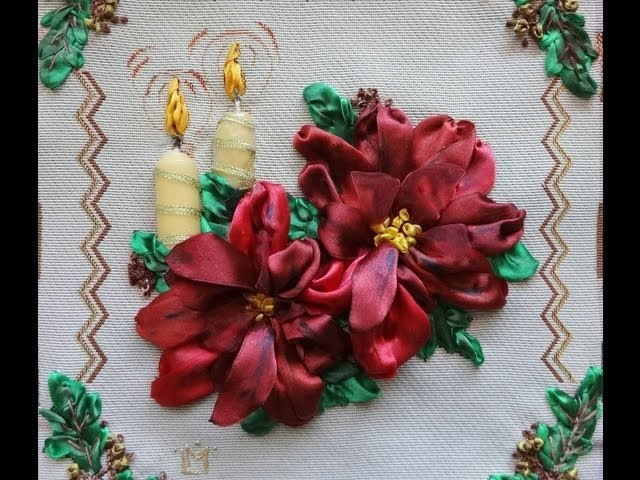 Christmas Art - Poinsettia Art -  Wall Art - Kurdele nakışi - Ribbon Embroidery - Вышивка лентами