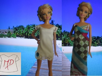 BARBIE DOLL-HOW TO MAKE- SUMMER DRESS(es).как сделать одежду для Барби