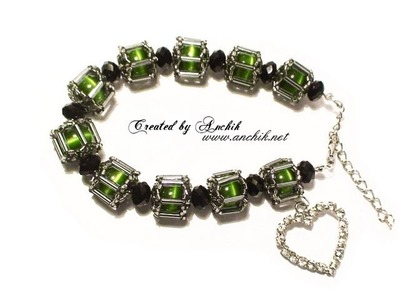 "Tutorial: Beaded bracelet ""Cat eyes"". Как сделать Браслет из бисера и бусин?"