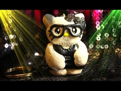 Полимерная глина. ХЕЛЛО КИТТИ. Polymer clay Hello Kitty in black glasses