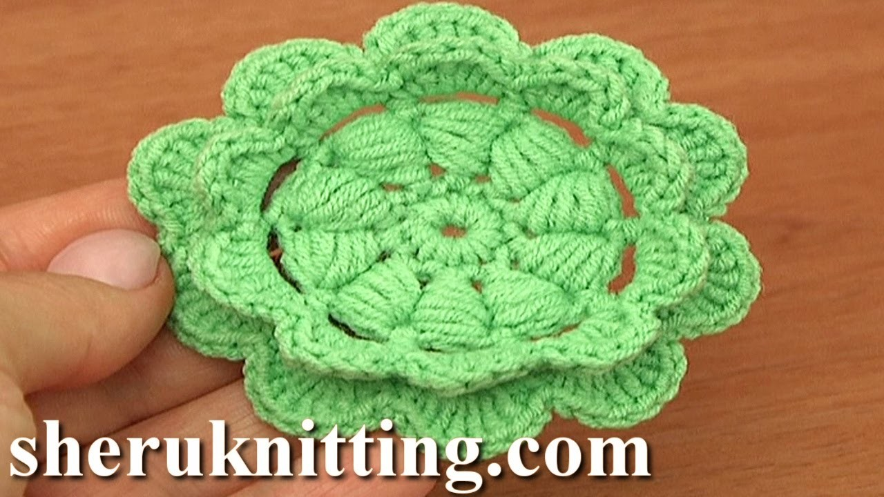 Сrochet Puff Stitch Double Layered Flower Tutorial 92