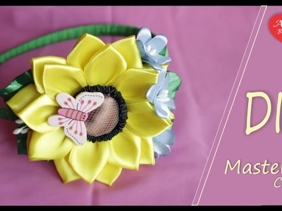 The hairband with Sunflower of ribbons. Подсолнух из Лент на Ободке