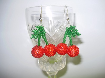 "Серьги из бисера ""Вишенки"" 1 часть. Bead earrings ""Cherry"" part 1"