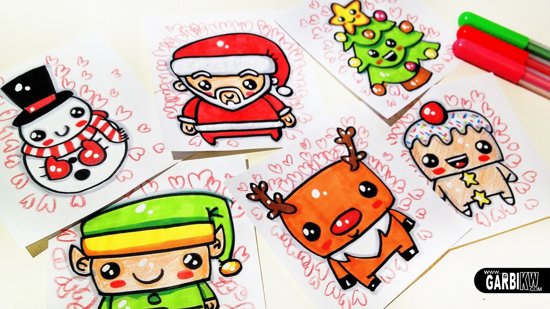 How To Draw Cute Christmas Easy and Kawaii Drawings by Garbi KW