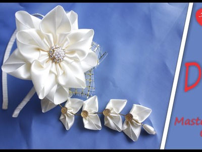 The hairband with Sidare in Kanzashi style for school. Канзаши Сидаре Ободок в Школу