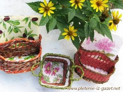 ▬►Плетение из газет ручек. Начало.  Weaving holders for a basket