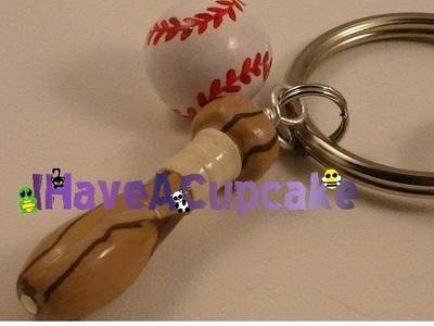 Baseball and Bat Keychain