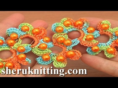 Сrocheted Beaded Flower Lace Tutorial 19 Part 1 of 2
