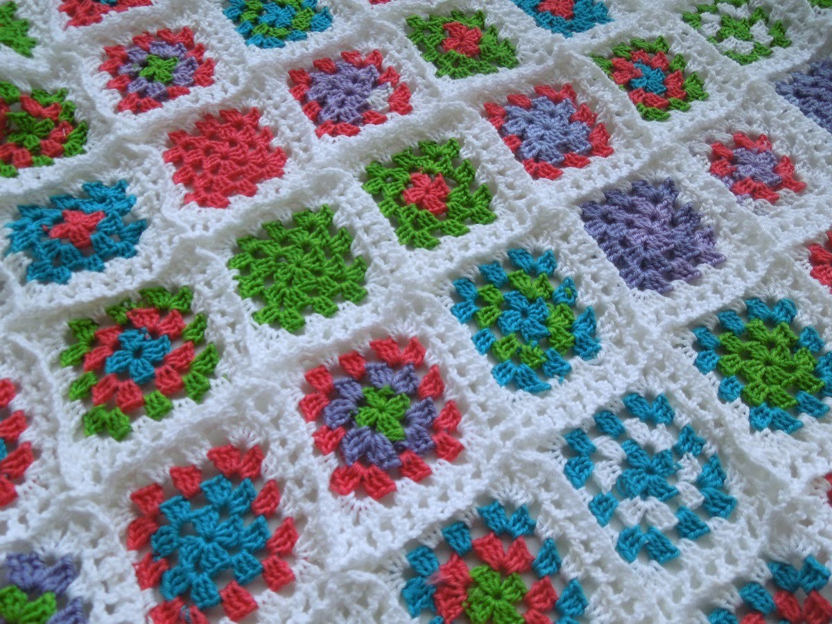 "Как связать плед из ""бабушкиных квадратов"". Часть1. How Crochet blanket.Granny squares"