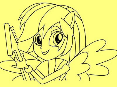 How to draw Rainbow Dash Human Equestria girls Rainbow rocks - Cómo dibujar Rainbow Dash Humano