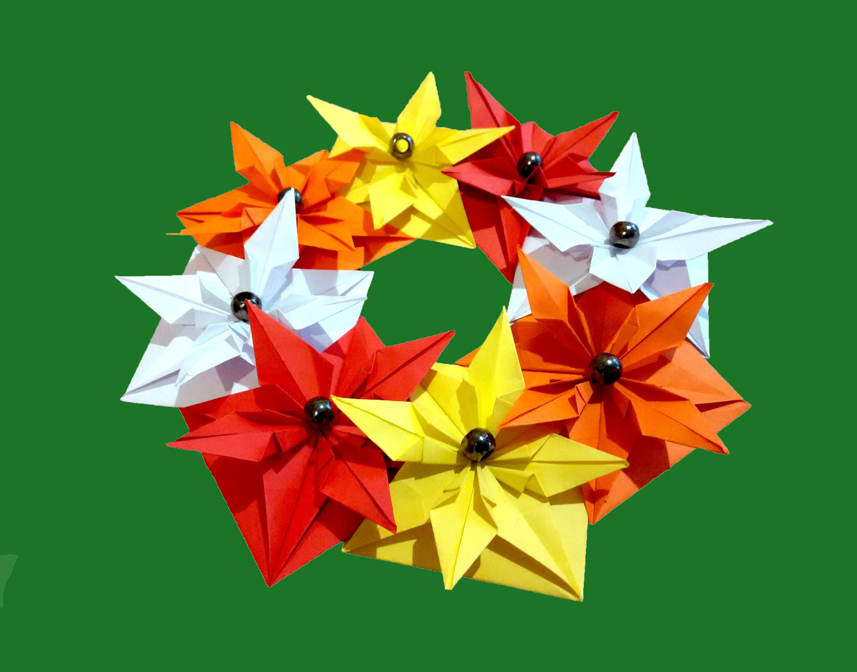 House and table decor-  Spring Wreath (paper) - Origami.  Easter ideas