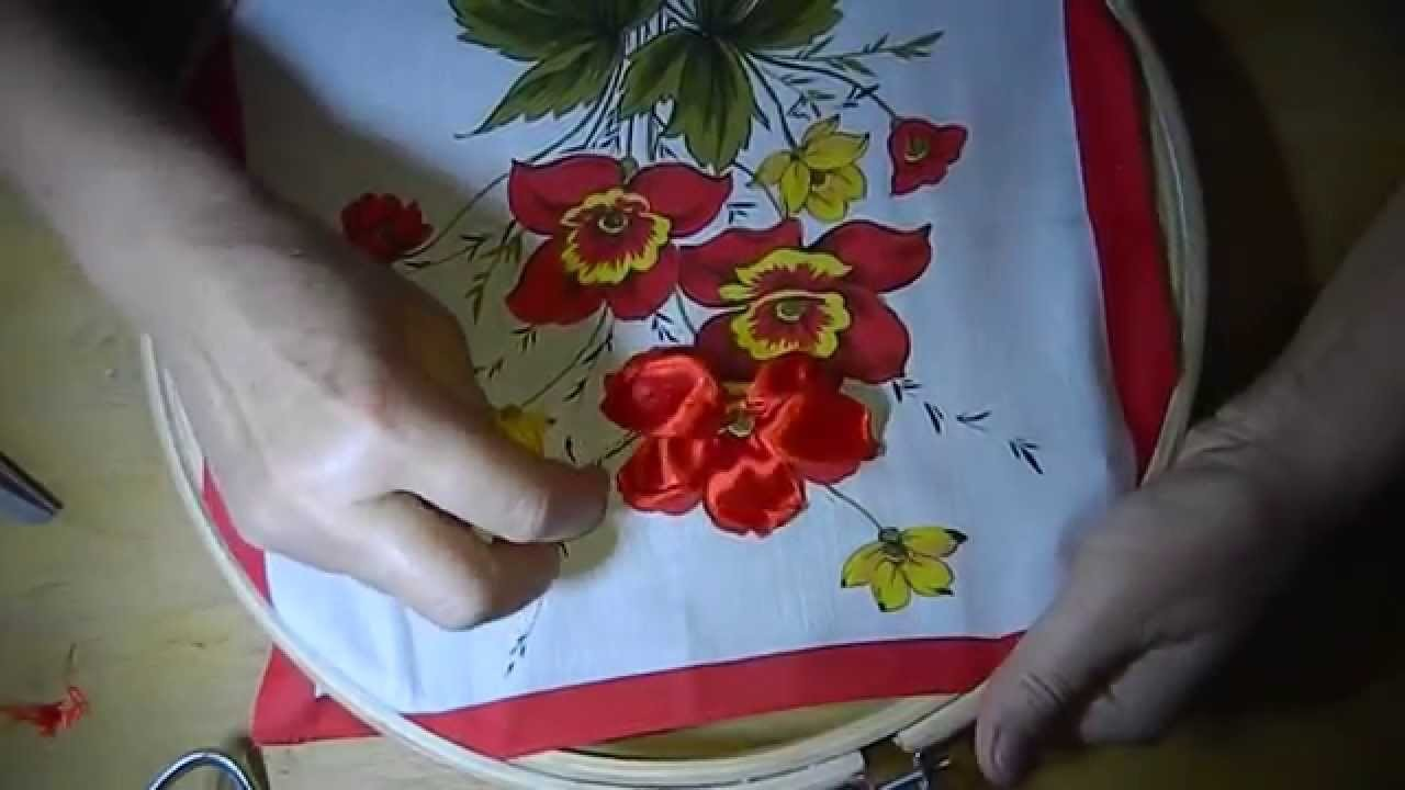 DIY Panels of roses of satin ribbons, (панно из роз) part 1