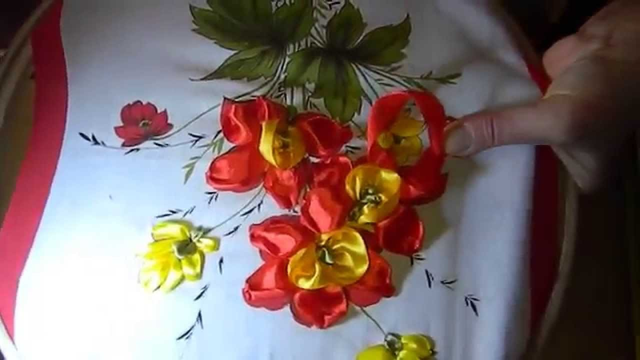 DIY Panels of roses of satin ribbons, (панно из роз) part 8