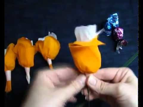 Букет из конфет мастер класс   how to make a  candy bouquet