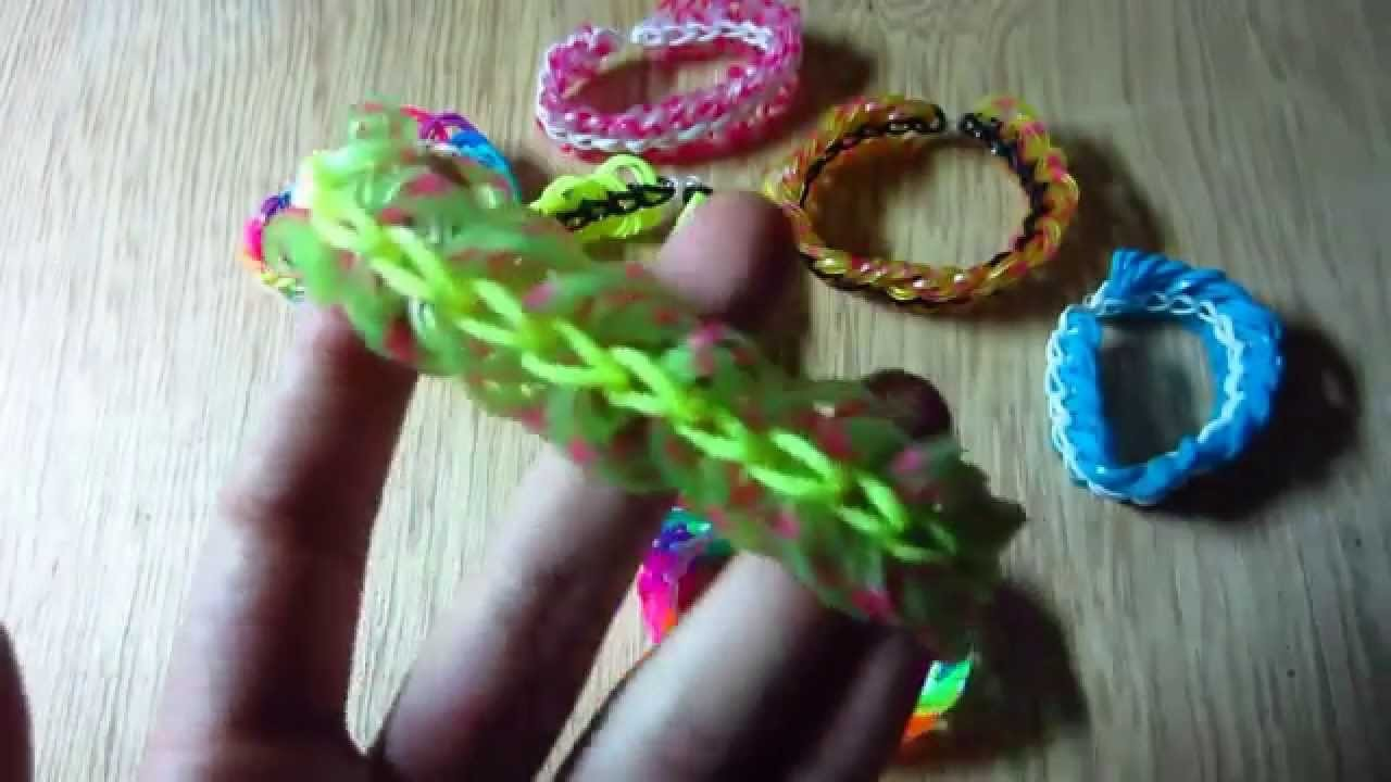 Rainbow Loom Bracelet Triple Link Chain without Loom  with Two Pencils EASY
