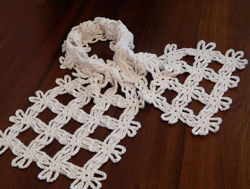 How to crochet scarf  Floral motif   Very easy  Step by step  Tutorial