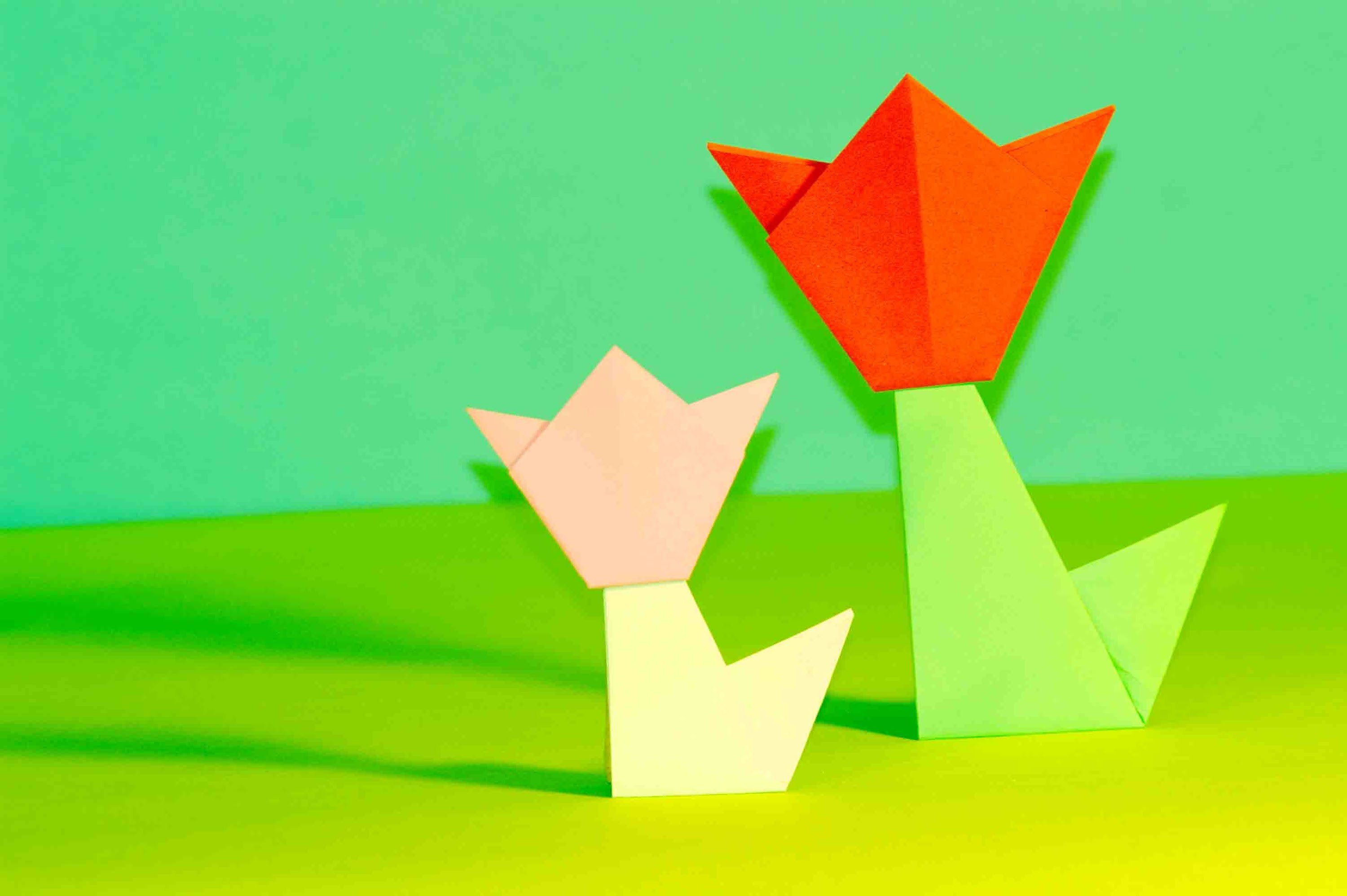 Оrigami for kids. Origami Tulip