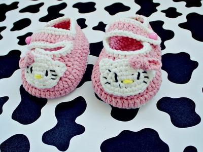 Пинетки крючком - Hello Kitty (часть 2). Crochet booties (part 2)