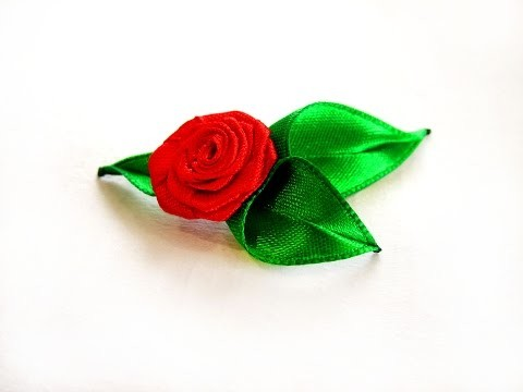 Листик из ленты. Leaves kanzashi .Handmade leaf tutorial. Листик канзаши. DIY Kanzashi