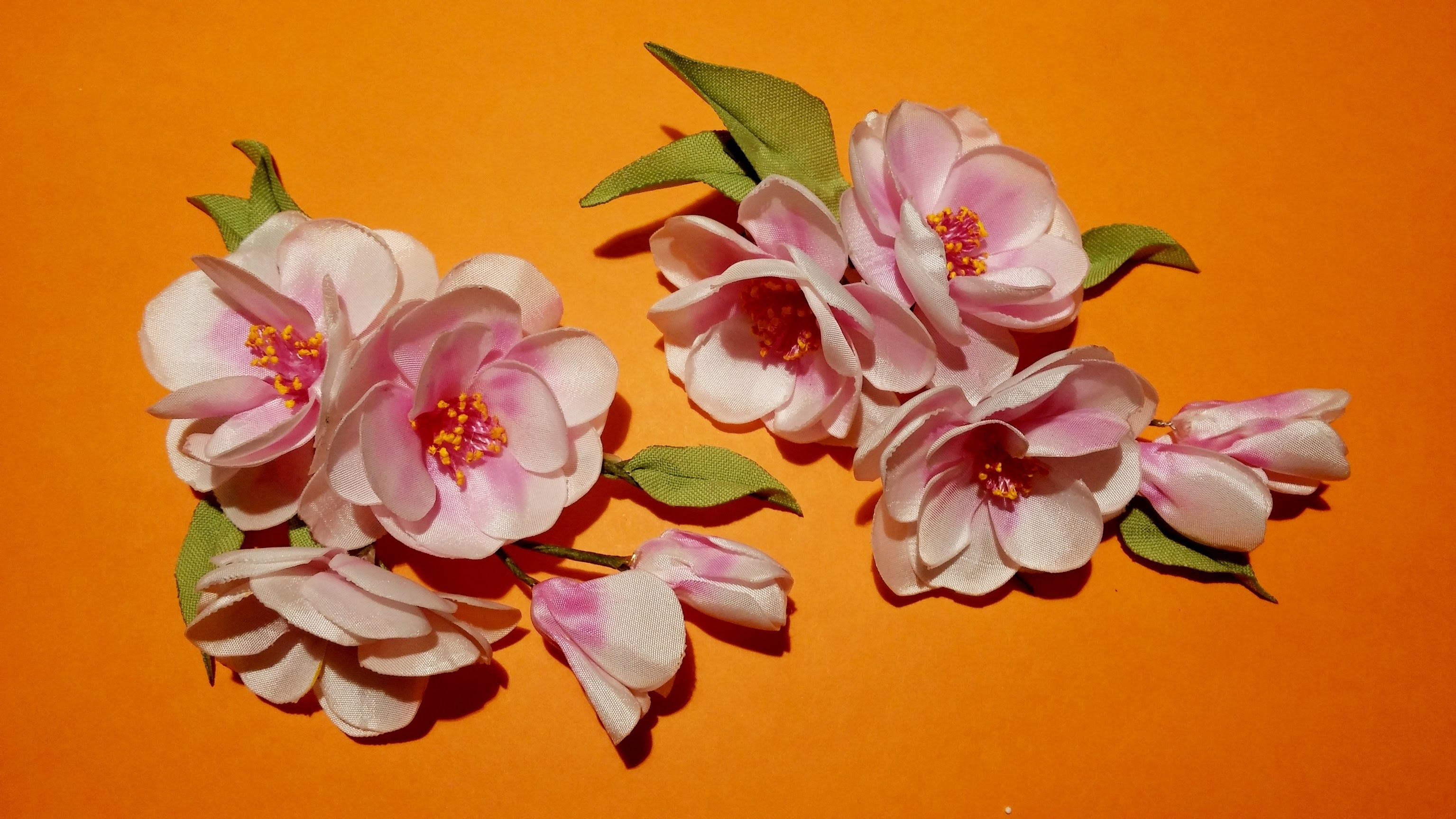 Fabric flowers how to make: sprig of cherry blossoms.цветы из ткани: веточка сакуры