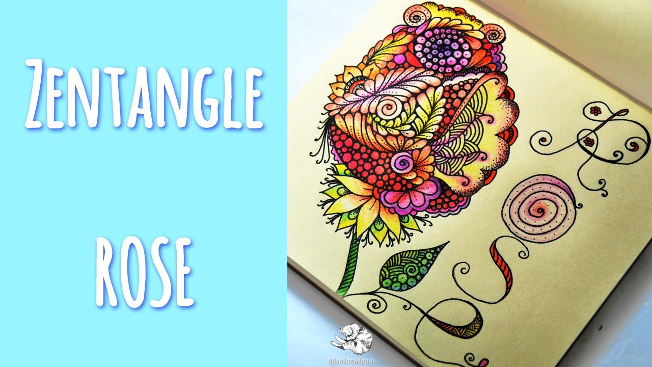 How to Draw Zentangle Rose | Zen Art | Doodle Flowers