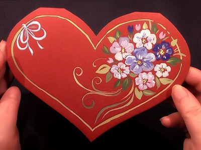 How to make a card for Valentine's Day. Как сделать открытку на День Валентина