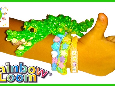 КРОКОДИЛ из резинок 3D Часть1 CROCODILE Rainbow loom bands tutorial for kids DIY Part 1