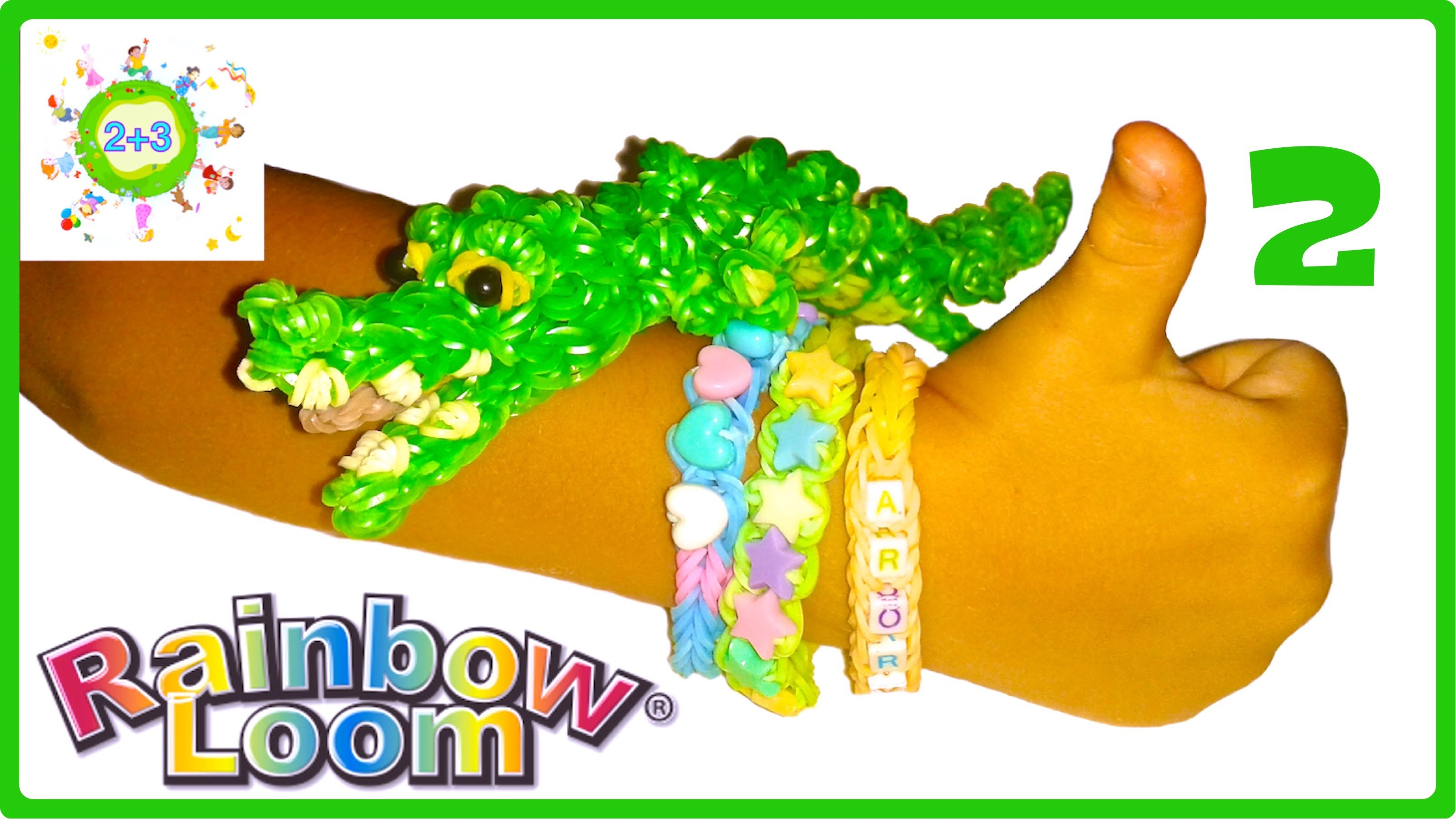 КРОКОДИЛ из резинок 3D Часть 2 CROCODILE Rainbow loom bands tutorial for kids DIY Part 2