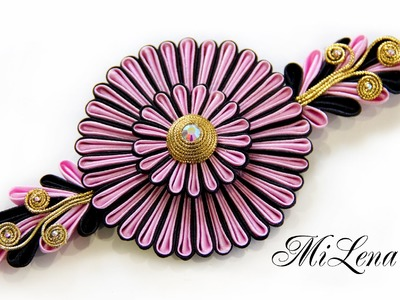 Цветок канзаши, МК . DIY Kanzashi flower. Ribbon flower tutorial