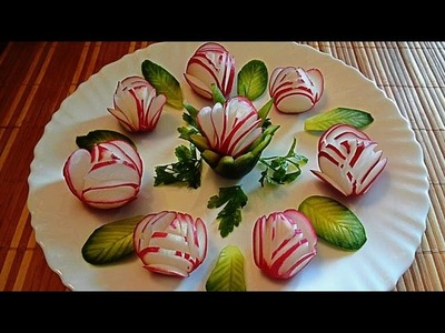 Украшения из редиса и огурца! Decoration of radish and cucumber!