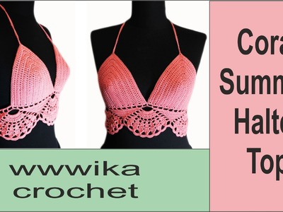 Crochet halter top Crochet bikini Free pattern tutorial part 1 #halter_top  #crochet_top
