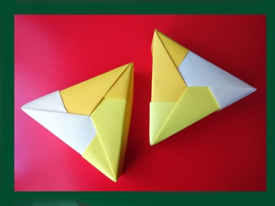 Easy origami Triangle gift box.  Ideas for gifts. Треугольная коробочка. Ideas for Christmas