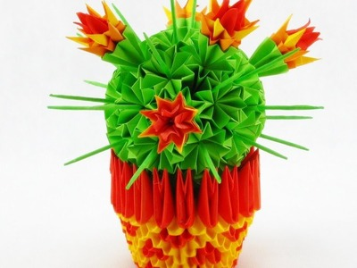 How to make 3D origami cactus Модульное оригами кактус