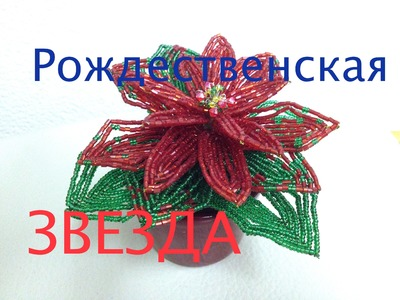 Рождественская звезда из бисера. Часть 1.2. Poinsettia out of beads. Part 1.2.