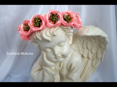 Фантазийная роза-шиповник канзаши.Fancy a rose rosehip kanzashi