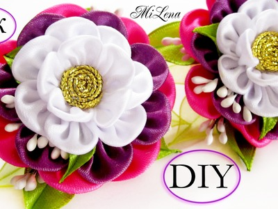 Резинки с цветком канзаши, МК. DIY Scrunchy with Kanzashi flower. DIY Flowers Rubber band