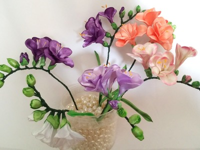 Ribbon flowers: freesia of satin ribbons.tutorial.Цветы из лент: Фрезия. МК