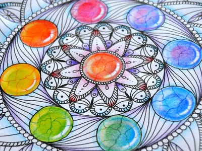 How to draw Mandala with Rainbow Gems | Colored Pencil Tutorial