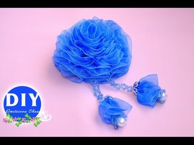 DIY.Кanzashi flower tutorial.Kanzashi. Flower on the hairclip.Flowers from ribbon.Rose Organza