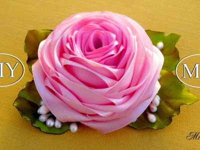 Роза из ленты, МК. DIY Satin Rose. DIY Ribbon Rose