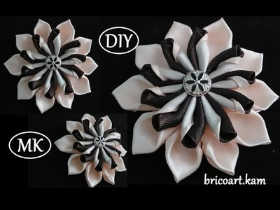 DIY for GIRLS.How to.Kanzashi flower Tutorial.Ribbon flower.Flor de cinta.MK.канзаши: bricoart.kam