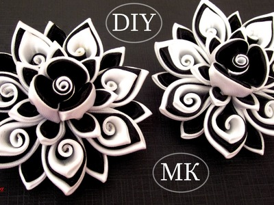 Резинки канзаши, МК. DIY Scrunchy with Kanzashi flower. Black & White Ribbon Flowers